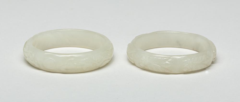 Pair Chinese White Jade Carved Bangles