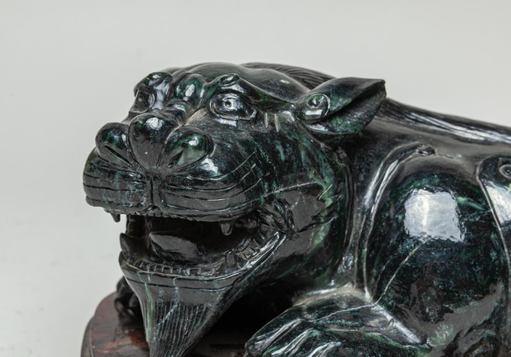 Large Chinese Spinach Jade Beast Type Sculpture