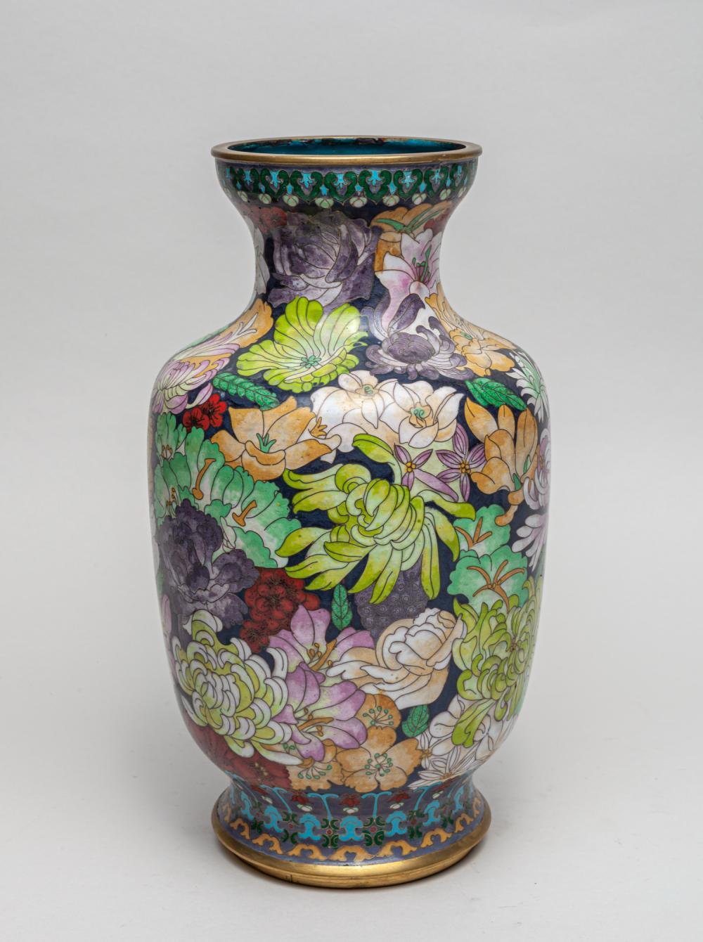 Large Chinese Export Cloisonne Cabinet Vase