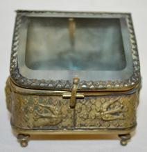 Antique Beveled Glass Jewelry Box Pocket Watch Holder: Embossed tin case with lady head, birds, and flowers; flip up lid, original lining.  3