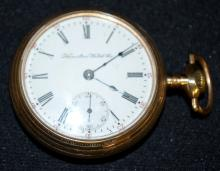 Hamilton 17J 18S OF Full LS DMK Adj. No. 217411 Pocket Watch: The flat dial looks good. In a yellow SF & B 20 Year Royal Case No. 9264909.