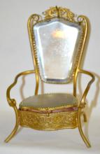 Antique Pocket Watch Holder in the Form of a Throne Style Chair: Metal frame with mirror back and jewelry box seat, original lining.  6 1/4