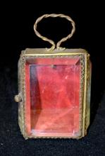 Antique French Vitrine Beveled Glass Pocket Watch Holder/Jewelry Box: With a metal frame, 3 beveled glass panels; a tin back, bottom and top; and a handle on the top. 4 1/8