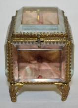 Antique Beveled Glass Jewelry Box Pocket Watch Holder in the Form of a Slant front Showcase: Metal frame, 4 glass panels, tin back and bottom; original lining.  4