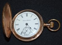Antique Hampden 7J 18S Yellow GF Hunting Case Full Plate Pocket Watch: The watch is running.