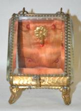 Antique Beveled Glass Jewelry Box Style Pocket Watch Holder, Slant Front Showcase Form: 3 glass sides, tin back and bottom, metal frame, original lining, metal rope twisted handle.  4
