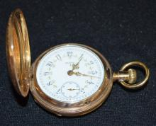 Antique Elgin 21J 18S LS Full NI Adjusted GJS DMK Pocket Watch No. 6348900: With a good, fancy SSD and in a yellow Keystone hunting case No. 1429048. The watch is running.