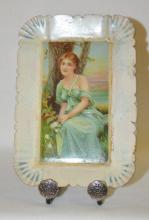 Antique Tin Litho Rockford Watch Advertising Tip Tray: Depicts a young lady leaning against a tree, the H.D. Beach Co., the back