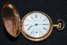 Antique 14K American Waltham Mod 1891 0S Pocket Watch No. 1101385: In a yellow 14K Keystone case No. 4618221.