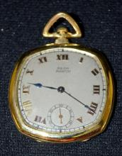 Antique 18K Bulova Phantom 18J OF Adjusted 8 Positions Pocket Watch No. 167: With a silver dial and gold Roman numerals, in a yellow 18K Bulova case No. 1958. The watch appears to be running.