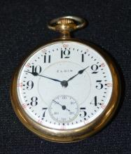 Elgin BW Raymond, 19J, 16S, OF, LS, DMK. 3/4, RGJS, Adj. 5 Pos., No. 15503746 Pocket Watch. In a yellow SF&B 25 Year Philadelphia No. 1043796/S case. (The watch is not running at this time.)