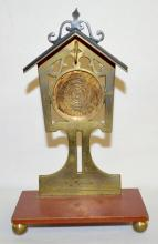 Antique Brass Mailbox Pocket Watch Holder: There is a flat rectangular base with ball feet and a stand up pocket watch holder in the form of a mailbox. 6 1/8