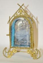 Antique Beveled Glass Jewelry Box Pocket Watch Holder in the Form of an Arched Window: Metal frame, clear beveled glass door, blue glass bowl, original lining; frame has a twisted rope design with flowers and leaf top notch, tin back.  5