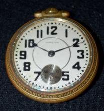 Antique Hamilton 940 21J 18S OF Full NI 2 Tone DR MB Adjusted 5 Positions GJS Pocket watch No. 960182: With a silver dial and black numbers. In a Keystone base metal case No. 341320. The watch is running at this time.