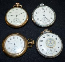 4 Elgin Pocket Watches: 1.) 15J, 16S, in a yellow Dueber 20 Year SF&B case.; 2.) 17J, 3 FBRG, in a white Spartan SF&B case; 3.) 15J, 16S in a defiance SF&B case.; 4.) 7J in a made by Illinois 10 Year Supreme case.