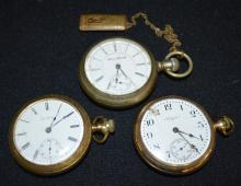 2 Elgin 17J, 18S, OF, Full Pocket Watches & 1 Illinois 189 Pocket Watch: 1.) #11491628 in a yellow NY 20 Yr. SF&B #2004378 Case.; 2.) #10176684 in a yellow SF&B 20 Yr. JBoss Case #9320133. 3.) Illinois 17J 18S OF LS Full - Chalmers Patent #1239688.