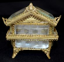 Antique Beveled Glass Pocket Watch Holder and Protector with Fancy Brass Trim: Formed as a multi-storied dwelling with engraved windows and a door. The lid lifts on hinges to reveal a gray silver back and floor with the watch hook on the back wall.