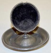 Antique Littlefield Silver Plate Pocket Watch Holder: The round frame, with a beaded edge, has a center stand that holds the pocket watch and has the same border. 2 3/4