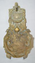 Antique Pocket Watch and Jewelry Holder Made of Cast Brass with a Forestry Motif: Unmarked, it includes a canteen, shovel, hand and long scythes, insects and other things. The watch rests in a 40 mm basket. 2 3/8