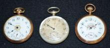 3 Antique Waltham 16S OF Pocket Watches: 2 are 15J, are in a Yellow GF case and have fancy dials. The other is a 19J