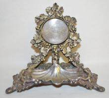 Antique Pocket Watch and Jewelry Holder Made of Nickel Silver by A.G.DUFVA of Stockholm, Sweden: There are lizards, grapes and a shell shaped dish for the jewelry - all in fine detail. It is also marked NS&R. 4 1/2