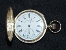 Antique American Waltham M1890 7 - 11J 6S Silver Hunting Case Pocket Watch No. 9723404: With a good SSD and in a Swiss made .935 silver case No. 70650 with floral and cottage scenes. The watch is running.
