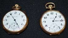 2 Antique Hamilton Pocket Watches in Swing Out Cases: 1.) 956 17J OF 3/4 NI Adjusted DMK No. 1391463 with a good DSD.  2.) 17J 16S OF 3/4 NI Adjusted DMK No. 74760: With a DSD.  Both watches are running.
