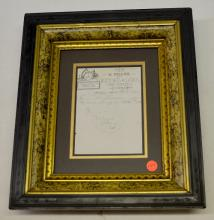 Framed 1885 Receipt for Watch Repair by