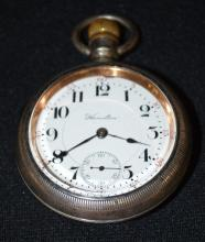 Antique Hamilton 924 17J 18S OF LS Full NI DMK Pocket Watch No. 1415019: The DSD looks good. In a white Illinois Hercules case No.  2373370 with a gold train engine on the back.