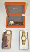 3 Vintage FOSSIL Wrist Watches, Each with a Box, Metal or Wood: 1.) No. EC8683 with a tin box. 2.) No. EC 8683 with a tin box. 3.) No. BQ 8461 - 3 dials on one, with a wooden box. None have been tested.