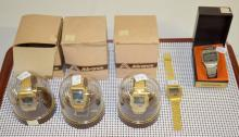 5 LED Multi-Function Chronograph Wrist Watches, 1970's and 1980's: 4 are by the Advance Watch Co. w/original plastic domes & cardboard boxes for 3. Some papers are w/them. The 5th is a Criterion Champion w/similar functions.