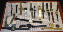 Group of Misc. Wrist Watches: Includes Seiko, Champion, Longines, Lucerne, Ladies Timex, Lifelong Sports, Swiss Cronel plus others. Also included are some watch bands and Wix Filters.