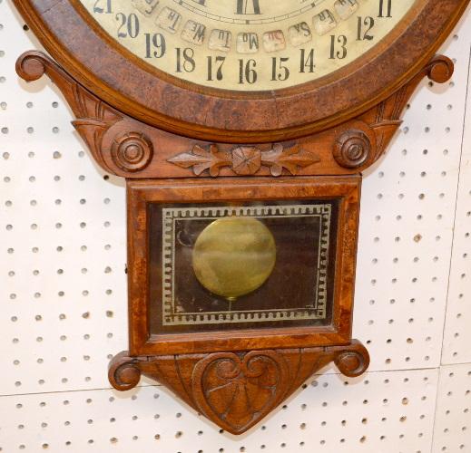Antique Gilbert Maranville Office Drop Calendar Wall Clock