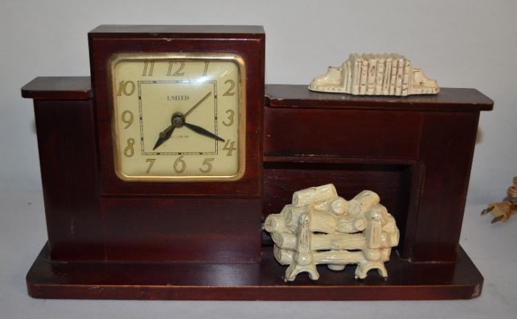 3 Vintage Electric Animated Clock United Fireplace And Pot