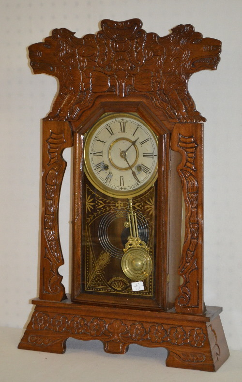 Antique new haven oak kitchen clock w lions t s with a sign - Antique clock designs for your home ...