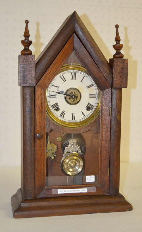 Antique Ansonia Walnut Sharp Gothic Steeple Clock Price Guide