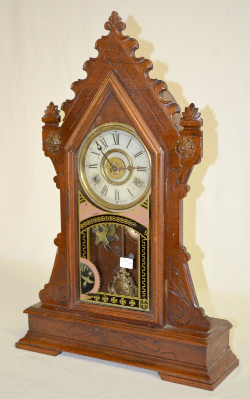 Antique New Haven Quot Clyde Quot Walnut Kitchen Clock With Alarm H