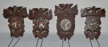 4 German Black Forest Carved Miniature Cuckoo Clocks: 1 marked movement