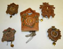 5 Miniature Cuckoo Clocks, 2 Lux, 2 Keebler and 1 Unmarked: All have pendulums; 2 have metal birds and 2 have plastic birds. All sell as is, where is. Largest - 8