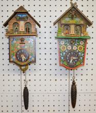 2 German Painted Cuckoo Clocks with Thermometers: Both are marked