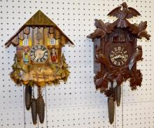 2 German Carved Cuckoo Clocks, Bird Motif and Musical Cottage: 1.)  has 3 carved birds; the front and movement are marked
