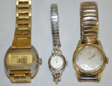 Three Vintage Men's Wrist Watches, Hamilton, Hawthorne and Proc Dex Digital: Have not been tested. All sell as is, where is.
