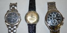 Three Vintage Wrist Watches, Accutron, Seiko Kenetic and Quartz Chronograph: None have been tested. All sell as is, where is.