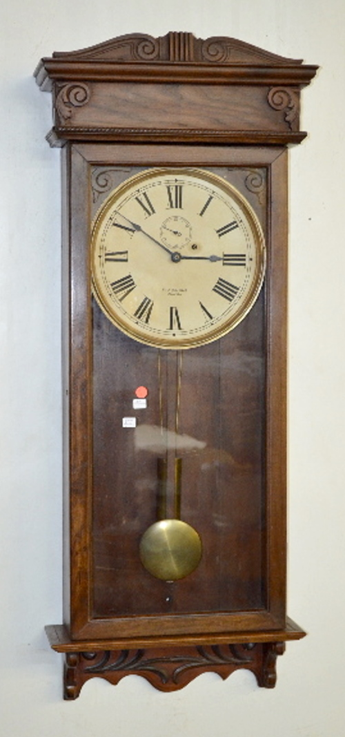 Antique oak gilbert regulator no 21 wall clock signed dial - Antique clock designs for your home ...