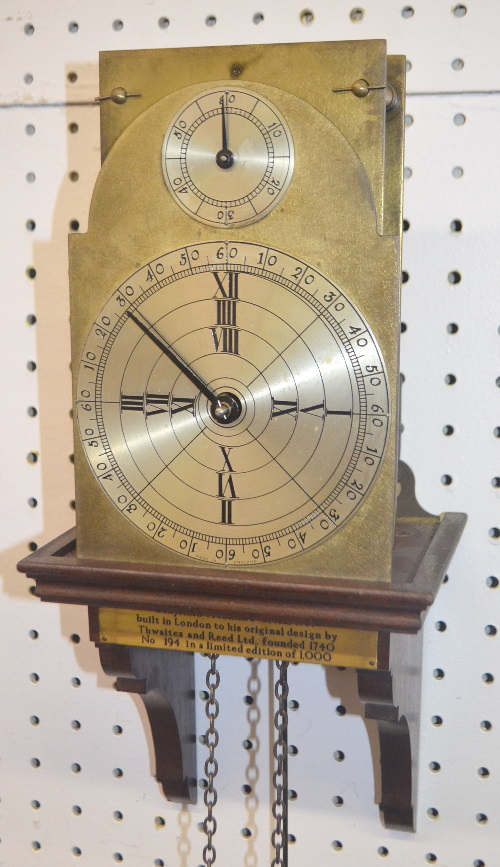 Replica Brass Benjamin Franklin Weight Driven Clock Based on the Original by Thwaites and Reed, 1757: The dial is marked