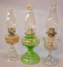 Three Antique Kerosene Lamps