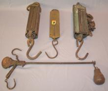Four Antique Hanging Scales: 1.) Cast Iron Steelyards Scale; 2.) 150 lb.