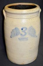 3 Gallon Cobalt Decorated Orange Peel Glaze Churn with Brown Glaze Interior: Marked with an underlined 3 and angel wing leaves. 13 3/4
