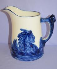 Antique Blue and White Sleepy Eye Pottery Pitcher: 7 3/4