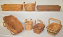 7 Collectable Woven Baskets, Including Longaberger and Others: